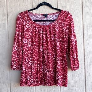 Talbots 3/4 sleeve red blouse M
